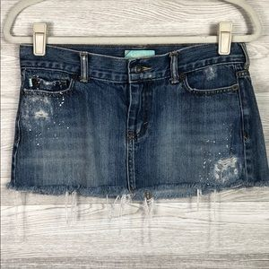 Hollister Destroyed Distressed Denim Mini Skirt